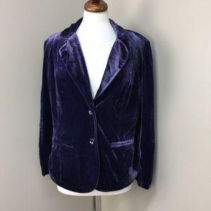 NWT Jeffrey Banks Purple Velvet Two Button Blazer